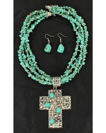 Blazin Roxx Multi-Strand Turquoise Strand Cross Pendant Necklace & Earrings Set, , hi-res
