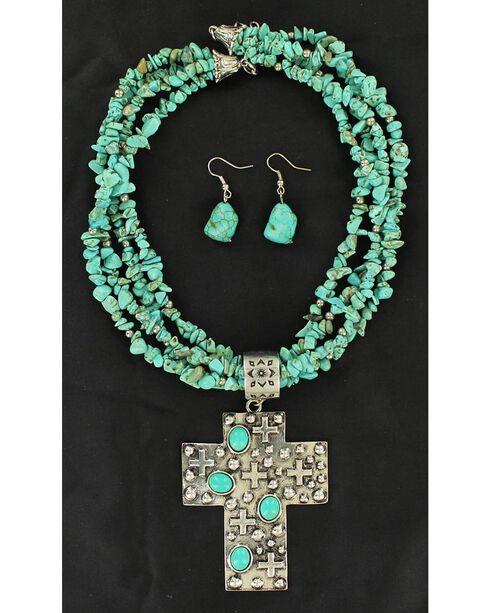 Blazin Roxx Multi-Strand Turquoise Strand Cross Pendant Necklace & Earrings Set, Turquoise, hi-res