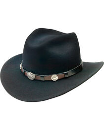 Jack Daniel's Men's Black Crushable Wool Scalloped Concho Band Hat, , hi-res