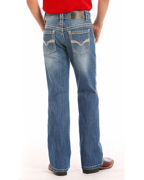 Rock & Roll Cowboy Boys' Indigo (4-20) Khaki Embroidered Jeans - Boot Cut , Indigo, hi-res