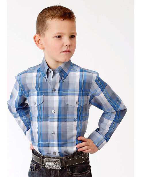 Roper Boys' Crystal Blue Plaid Long Sleeve Button Down Shirt, Blue, hi-res