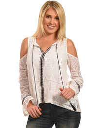 Polagram Women's Cold Should Lace Top with Tassel Detail, , hi-res