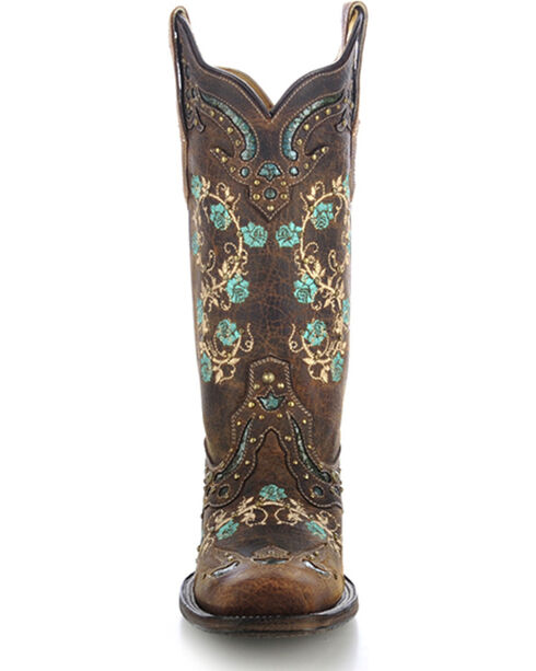 Corral Women's Embroidered Rose Western Boots, Brown, hi-res