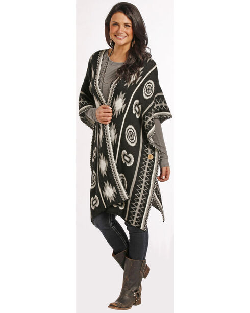 Rock and Roll Cowgirl Women's Open Front Aztec Poncho, Blk/white, hi-res