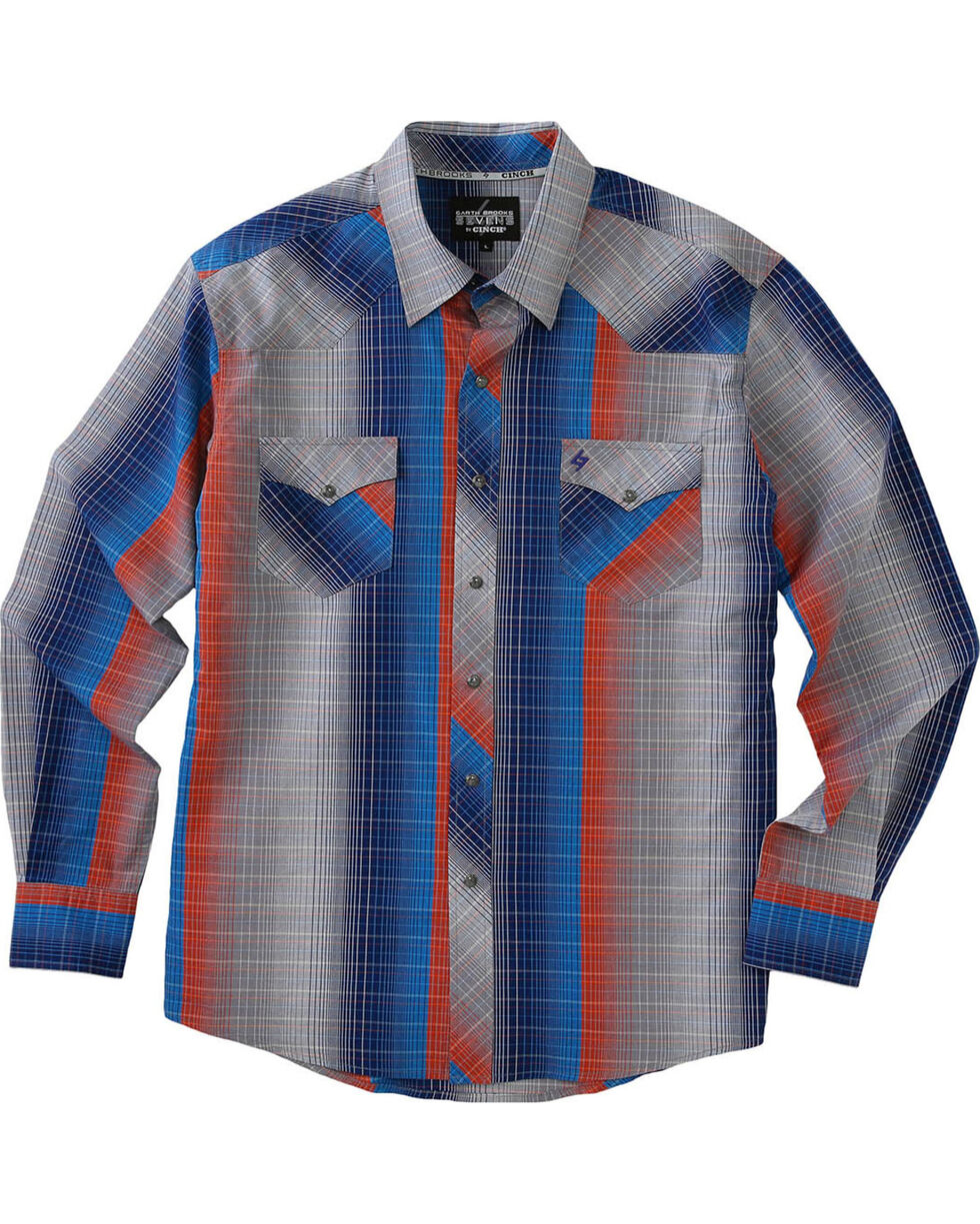 Garth Brooks Sevens by Cinch Men's Multi Gray Pearl Snap Long Sleeve Shirt , Multi, hi-res