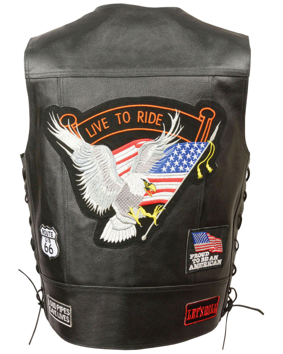 "Milwaukee Leather Men's Side Lace ""Live to Ride"" Patch Vest - 5X, Black, hi-res"