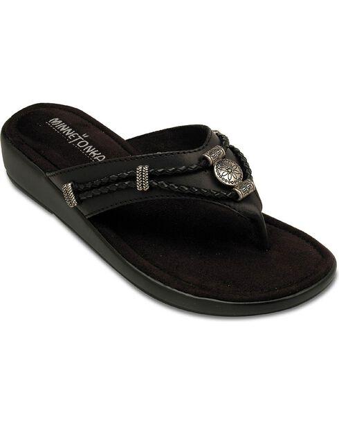 Minnetonka Silverthorne Wedge Sandals, Black, hi-res