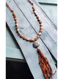 Jewelry Junkie Women's Picture Jasper with Agate Pendant Necklace , Brown, hi-res