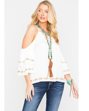 Miss Me Cold Shoulder Lace Up Top, White, hi-res