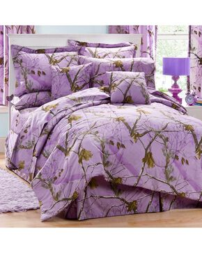 Realtree Lavender Camo Full Comforter Set, Camouflage, hi-res