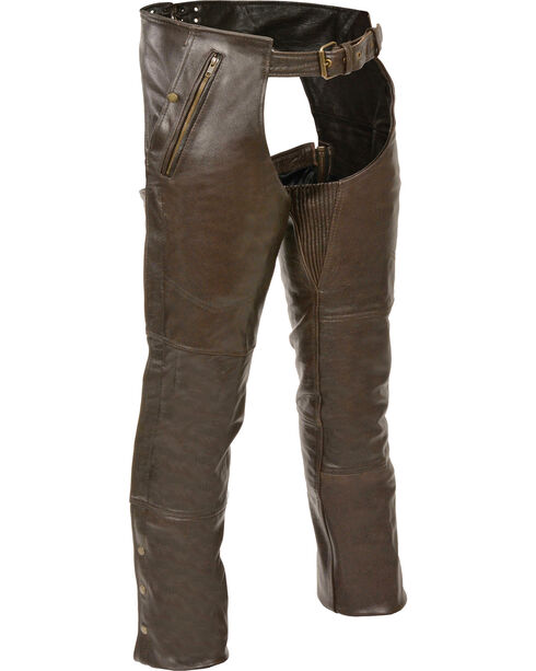 Milwaukee Leather Men's Retro Brown Four Pocket Thermal Lined Chaps - 3X, Brown, hi-res