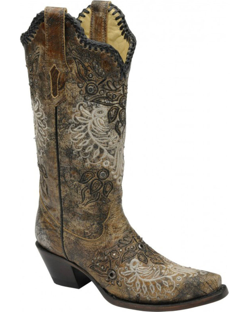Corral Women's Studded Western Boots, Black, hi-res