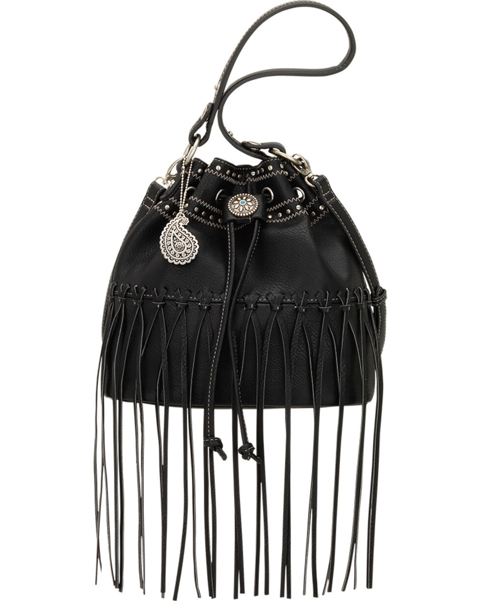 Bandana by American West Black Rio Rancho Drawstring Crossbody Bag, Black, hi-res