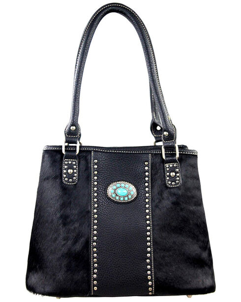 Montana West Trinity Ranch Coffee Hair-On Leather Collection Handbag, Black, hi-res
