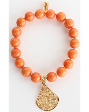 Everlasting Joy Jewelry Women's Tangerine Gold Dangle Bracelet , Orange, hi-res