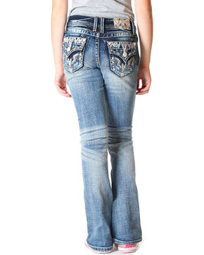 Grace in LA Girls' (4-6X) Indigo Faux Flap Jeans - Boot Cut , Indigo, hi-res