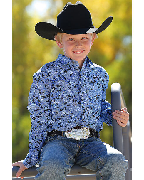 Cinch Boys' Paisley Patterned Long Sleeve Shirt, Blue, hi-res