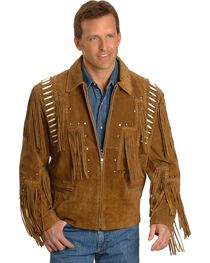 Liberty Wear Bone Fringed Leather Jacket, , hi-res