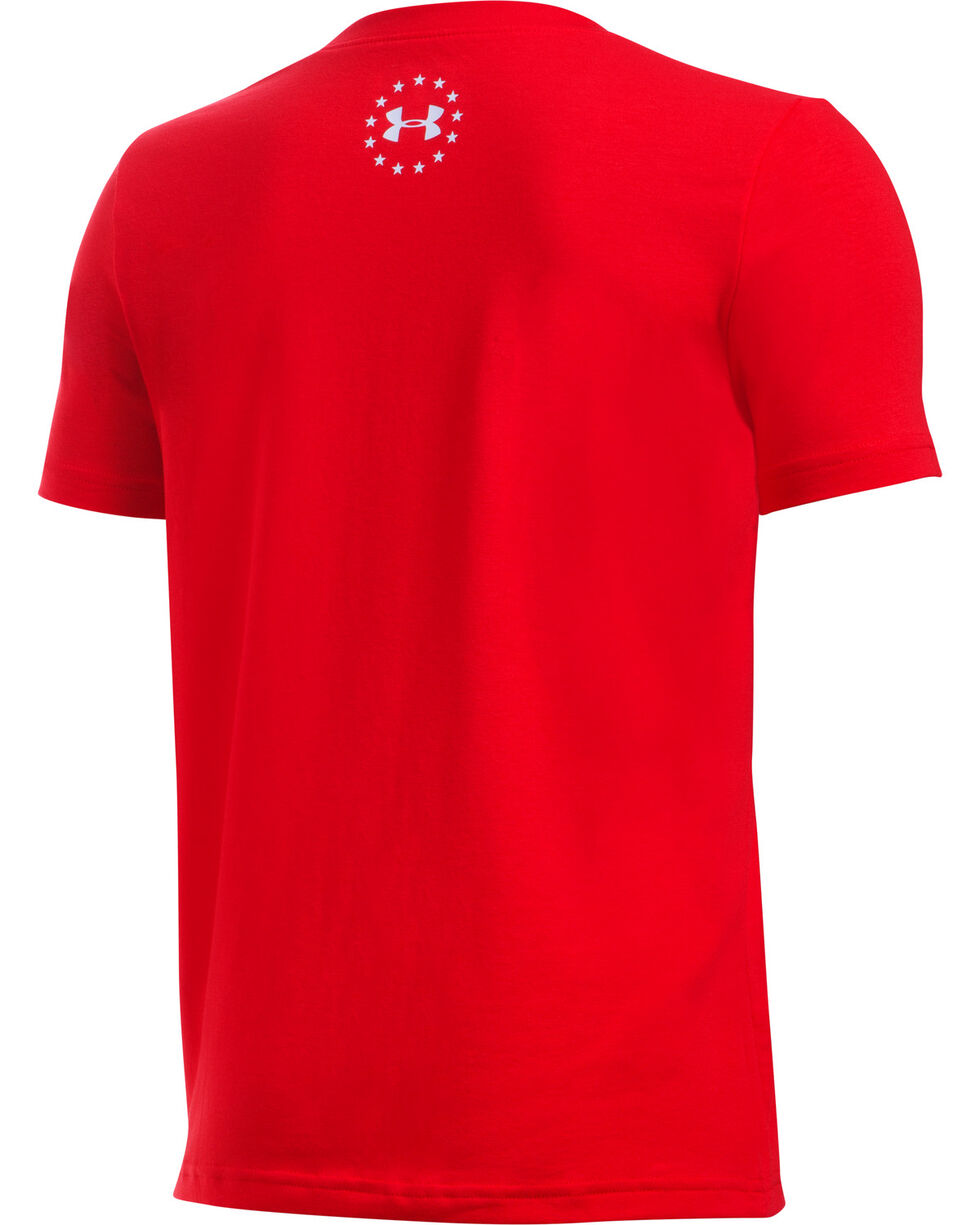 Under Armour Freedom Boys' Red Land of the Free Tactical Shirt, , hi-res