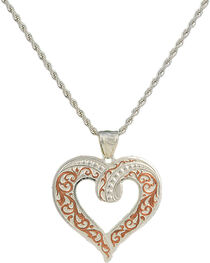 Montana Silversmiths Two Tone Copper Ribbon Heart Necklace, , hi-res