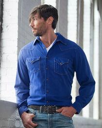 Ryan Michael Men's Cobalt Textured Stripe Silk Shirt, , hi-res