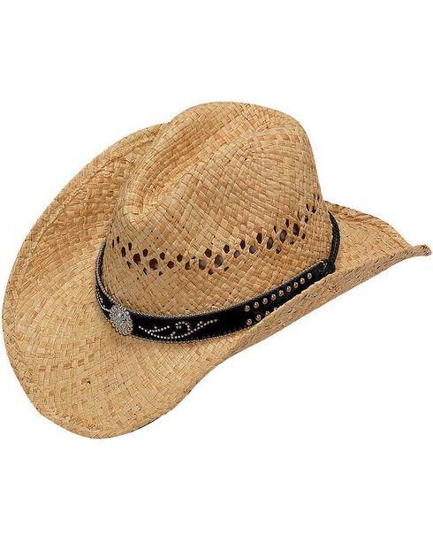 Blazin Roxx Studded Scroll Hat Band Raffia Straw Cowgirl Hat, Natural, hi-res