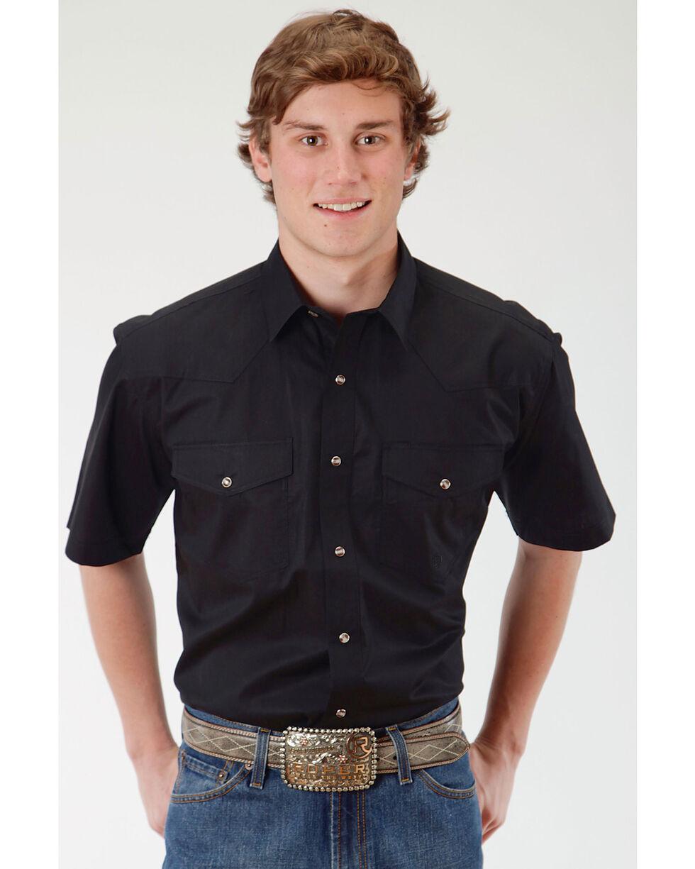 Roper Men's Solid Black Short Sleeve Western Snap Shirt, Black, hi-res
