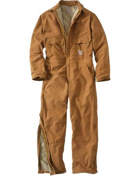 Carhartt Men's Flame Resistant Quilt Lined Coveralls, Carhartt Brown, hi-res