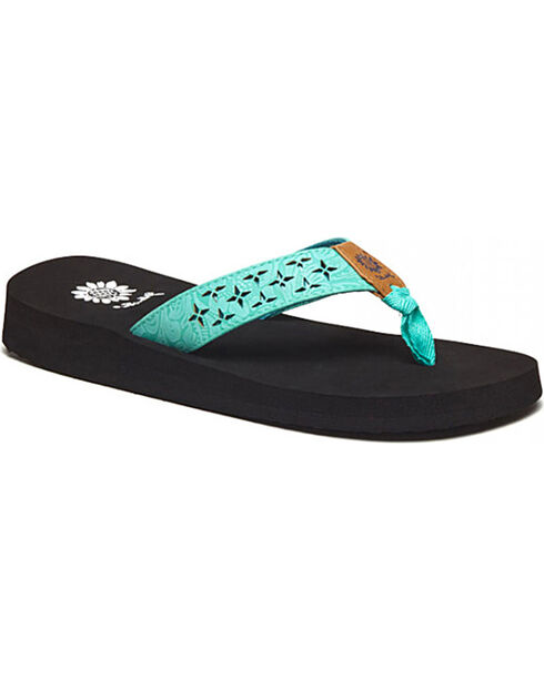 Yellow Box Women's Benji Floral Cut Sandals, Turquoise, hi-res