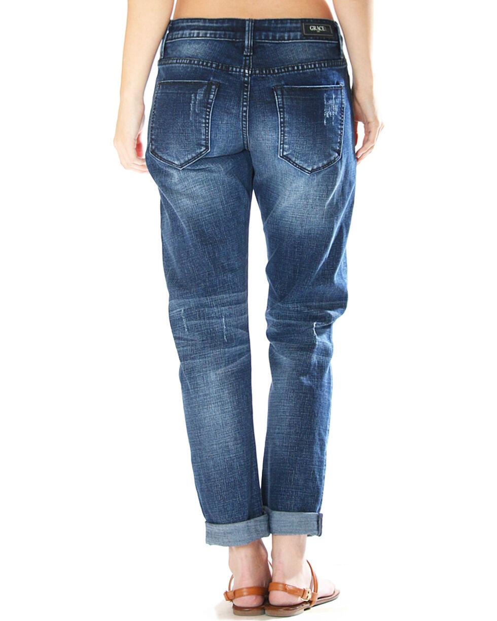 Grace in LA Women's Destructed Boyfriend Jeans - Straight Leg , Indigo, hi-res
