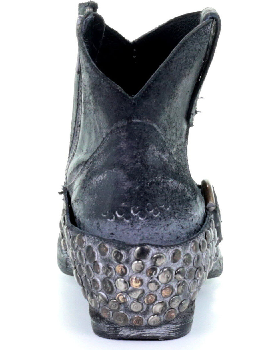 Circle G Women's Grey Harness & Studs Ankle Boots - Round Toe, Grey, hi-res