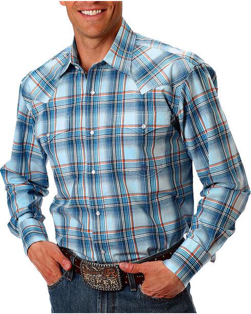 Roper Men's Plaid Long Sleeve Shirt, Blue, hi-res