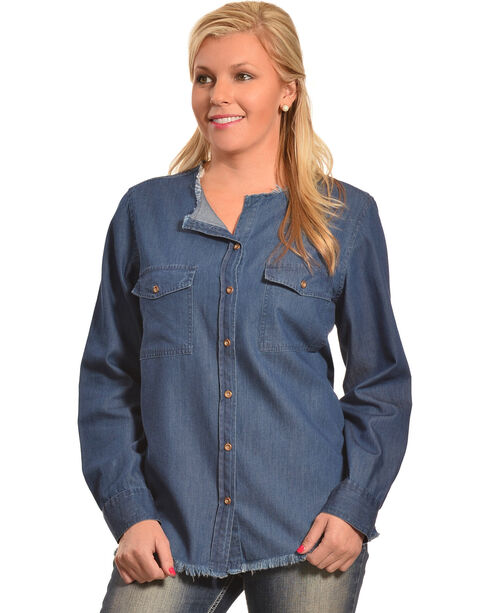 New Direction Women's Frayed Edge Denim Shirt , Indigo, hi-res