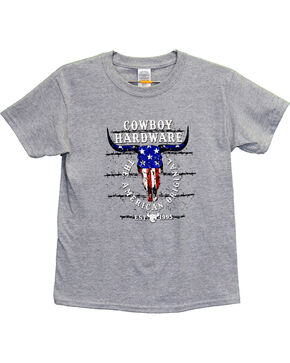 Cowboy Hardware Boys' American Original Short Sleeve Tee, Grey, hi-res