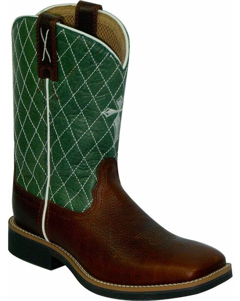 Twisted X Kid's Cowkid's Square Toe Work Boots, Cognac, hi-res