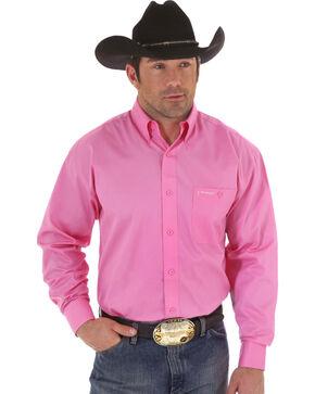 Wrangler Men's Breast Cancer Awareness Long Sleeve Shirt, Pink, hi-res