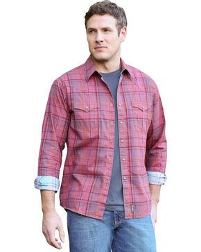 Wrangler Retro Men's Contrast Plaid Long Sleeve Shirt, Red, hi-res