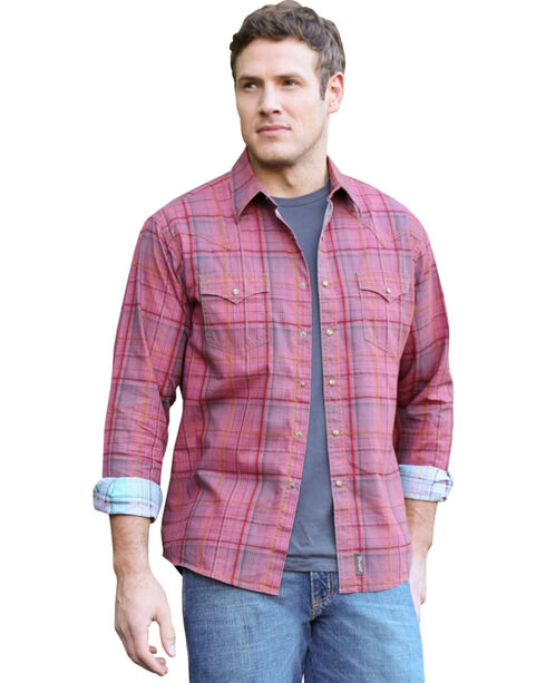 Wrangler Retro Men's Contrast Plaid Long Sleeve Shirt, Red, hi-res
