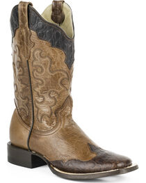 Roper Women's Faux Sea Turtle Wingtip Cowgirl Boots - Square Toe, , hi-res