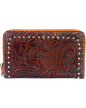 Montana West Trinity Ranch Tooled Design Wallet, Brown, hi-res
