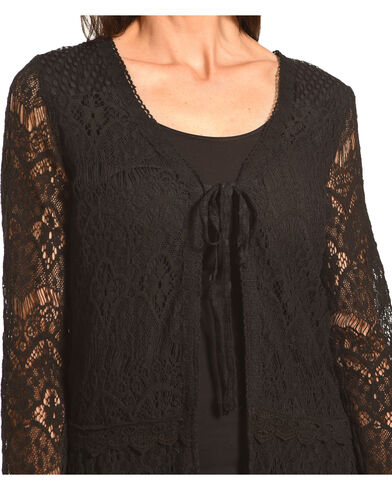 Young Essence Women's Black Lace Cardigan | Boot Barn