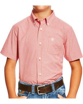 Ariat Boys' Orange Newark Print Western Shirt , Orange, hi-res