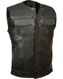 Milwaukee Leather Men's Black Collarless Zip Front Club Vest , , hi-res
