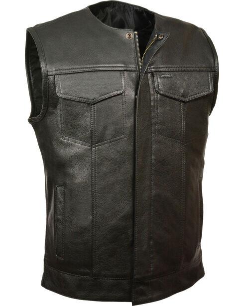 Milwaukee Leather Men's Black Collarless Zip Front Club Vest - Big 5X, Black, hi-res