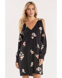 Miss Me Women's Black Glamour Garden Cold-Shoulder Dress  , , hi-res