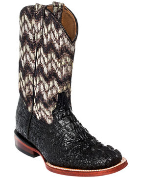 Ferrini Girls' Crocodile Print Cowgirl Boots - Square Toe, Black, hi-res