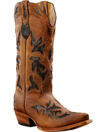 Johnny Ringo Black Lizard Print Inlay Cowgirl Boots - Snip Toe, , hi-res