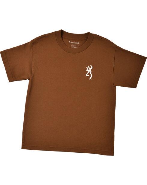 Browning Youth Boys' Brown Buckmark T-Shirt , Med Brown, hi-res