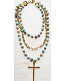 Jewelry Junkie Women's Amazonite Triple Strand Necklace with Gold Cross, , hi-res