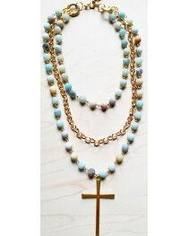 Jewelry Junkie Women's Amazonite Triple Strand Necklace with Gold Cross, Aqua, hi-res